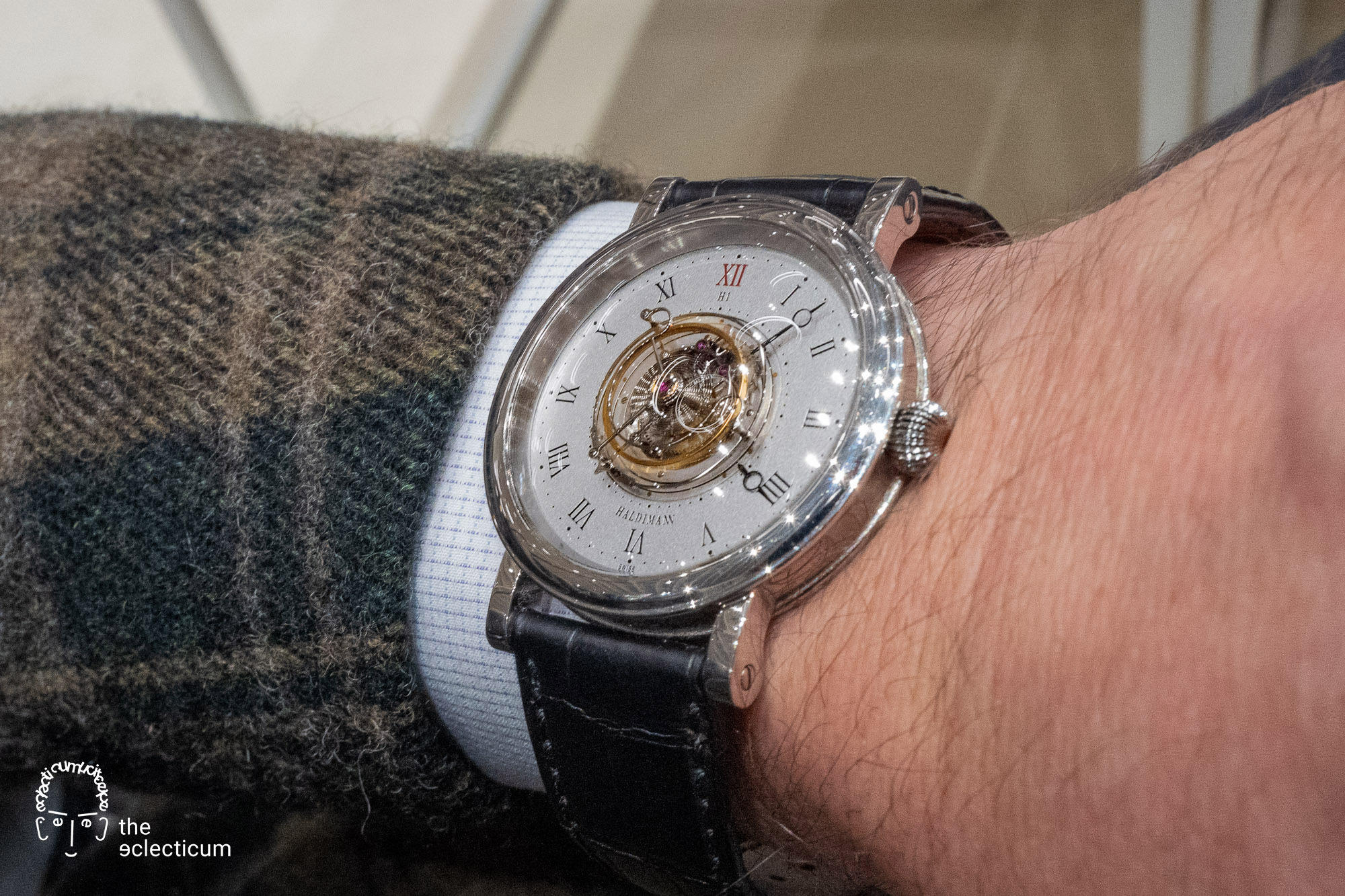 Haldimann H1 Flying central tourbillon ahci independent watchmaking wristshot