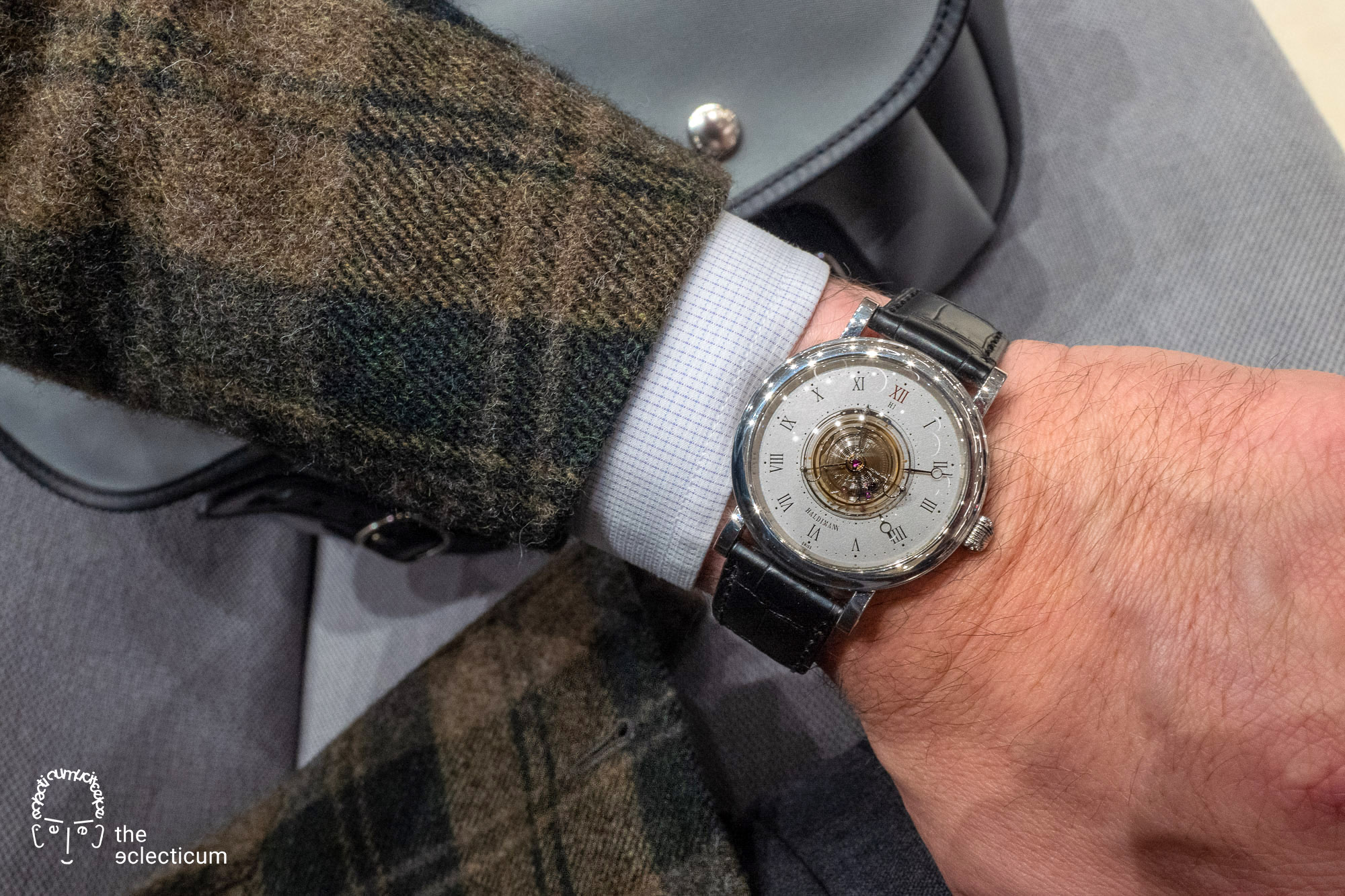 Haldimann H1 Flying central tourbillon ahci independent watchmaking wristshot