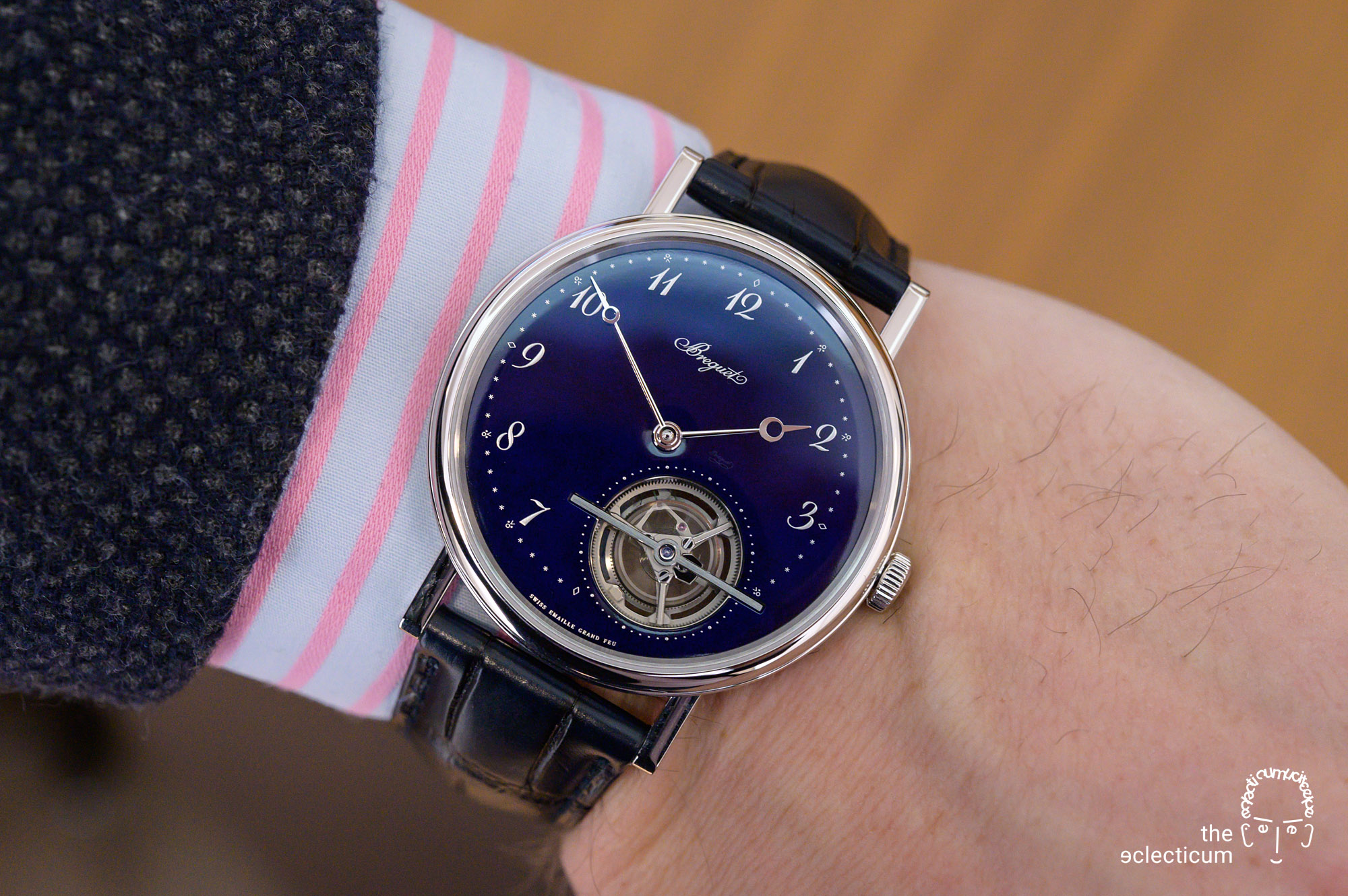 Breguet Classique Tourbillon Extra-Plat Blue Ref. 5367PT Grand Feu Enamel wristshot
