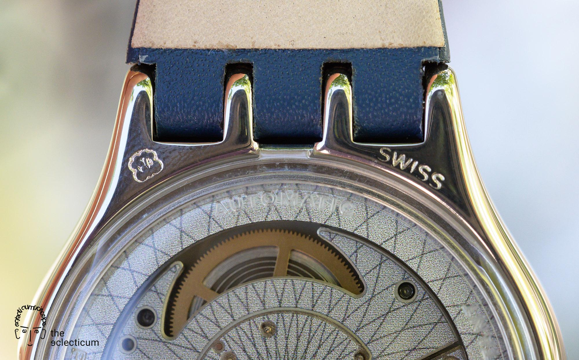 Swatch Sistem51 Petite Seconde automatic blue dial caseback ETA