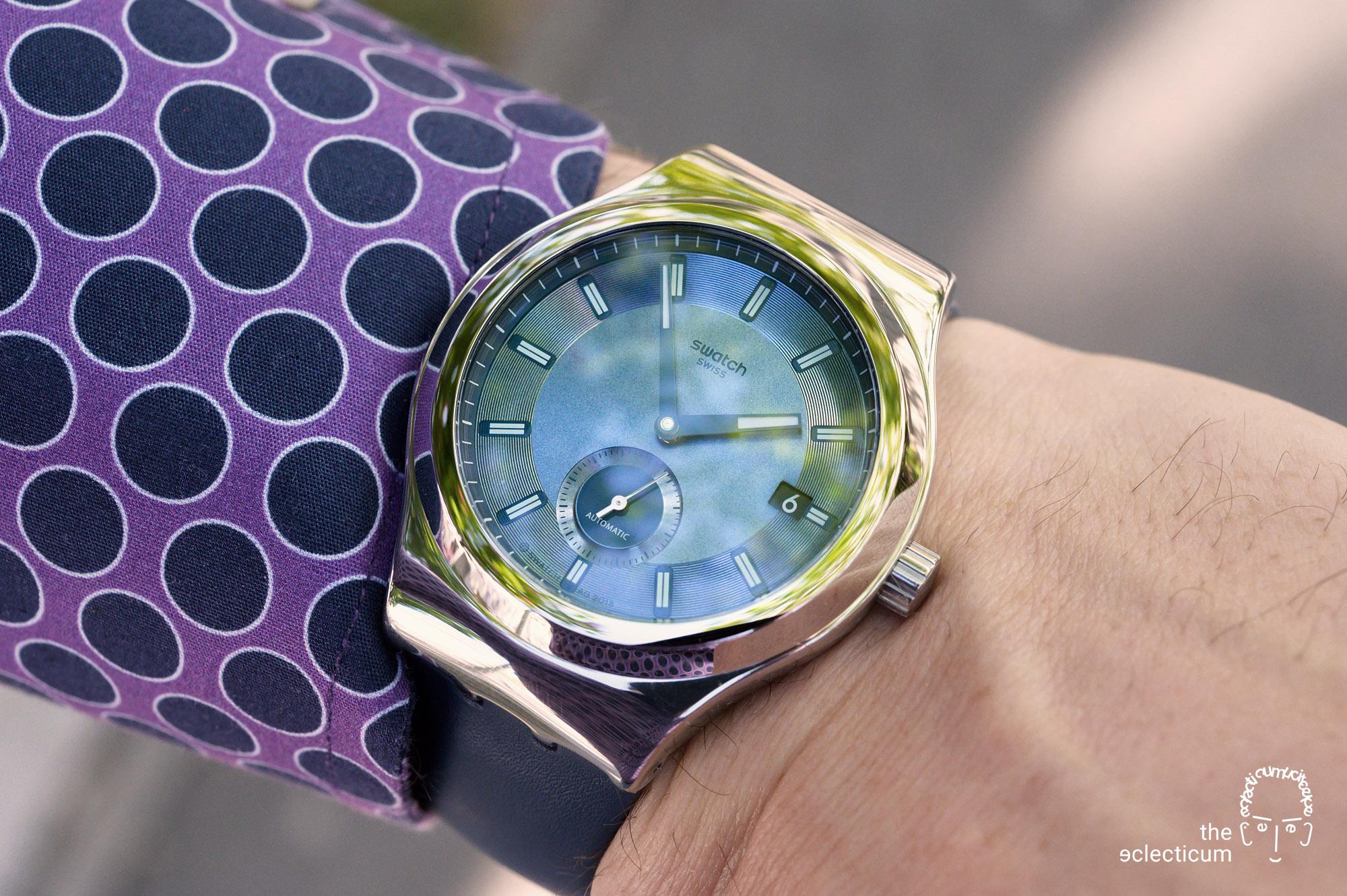 Swatch Sistem51 Petite Seconde automatic blue dial wristshot