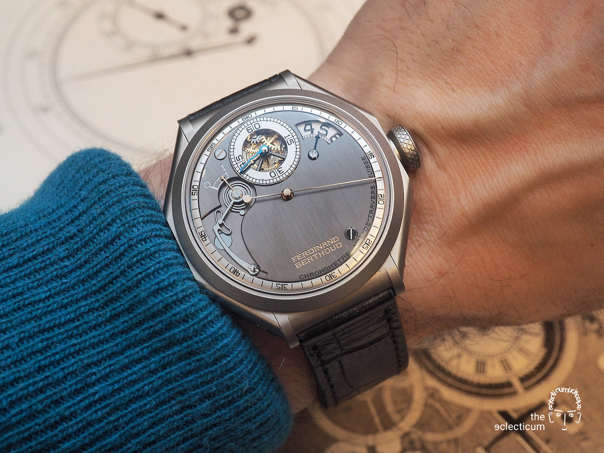 Ferdinand Berthoud Chronometry FB 1R chronometer dial heatblued steel hands wristshot