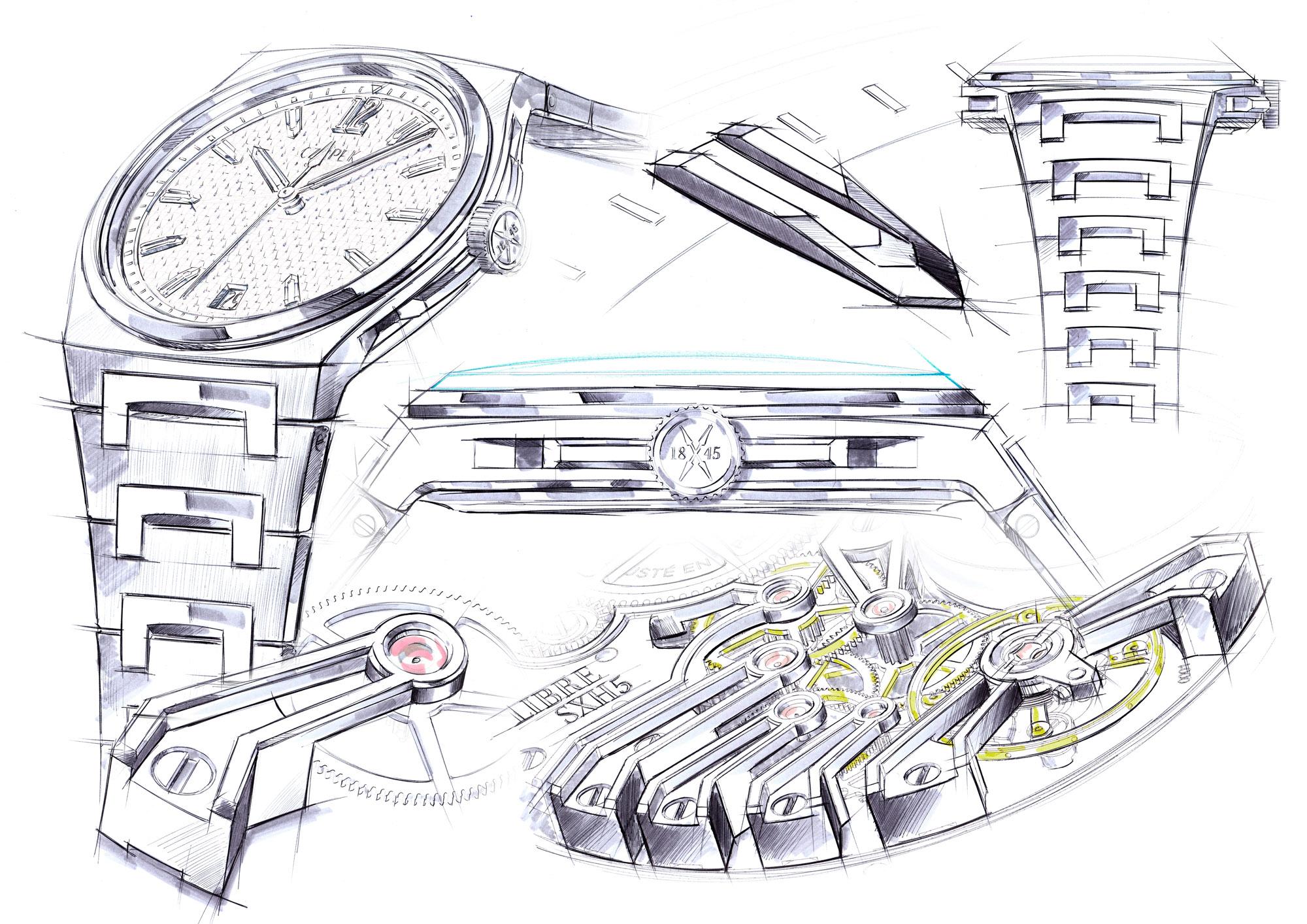 Czapek & Cie Antarctique Passage de Drake stainless steel sports watch sketch