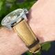 Wine Hirsch bracelet leaf leaves vegan strap Zenith Chronomaster El Primero Open