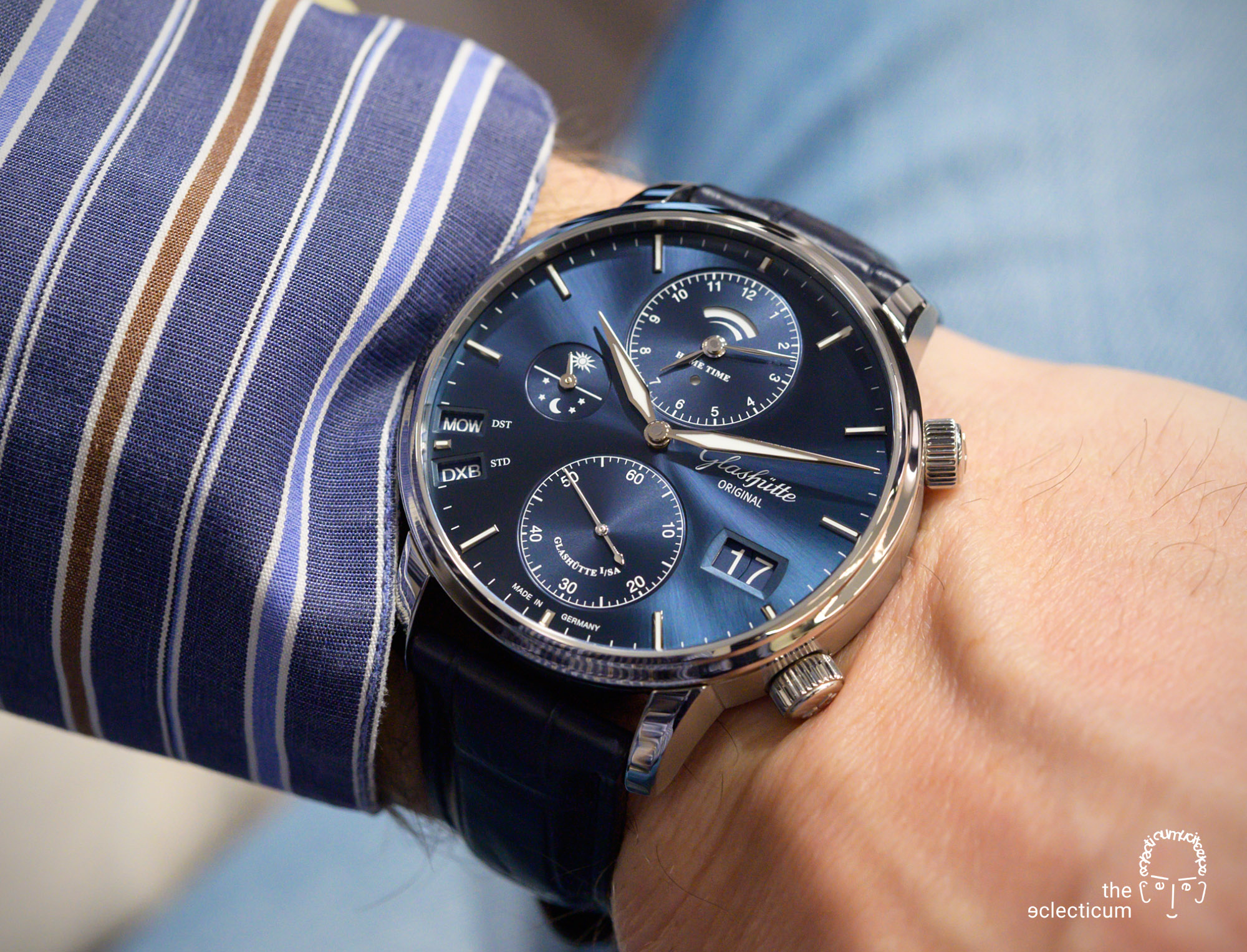Glashütte Original Senator Cosmopolite Blue world time travel watch wristshot