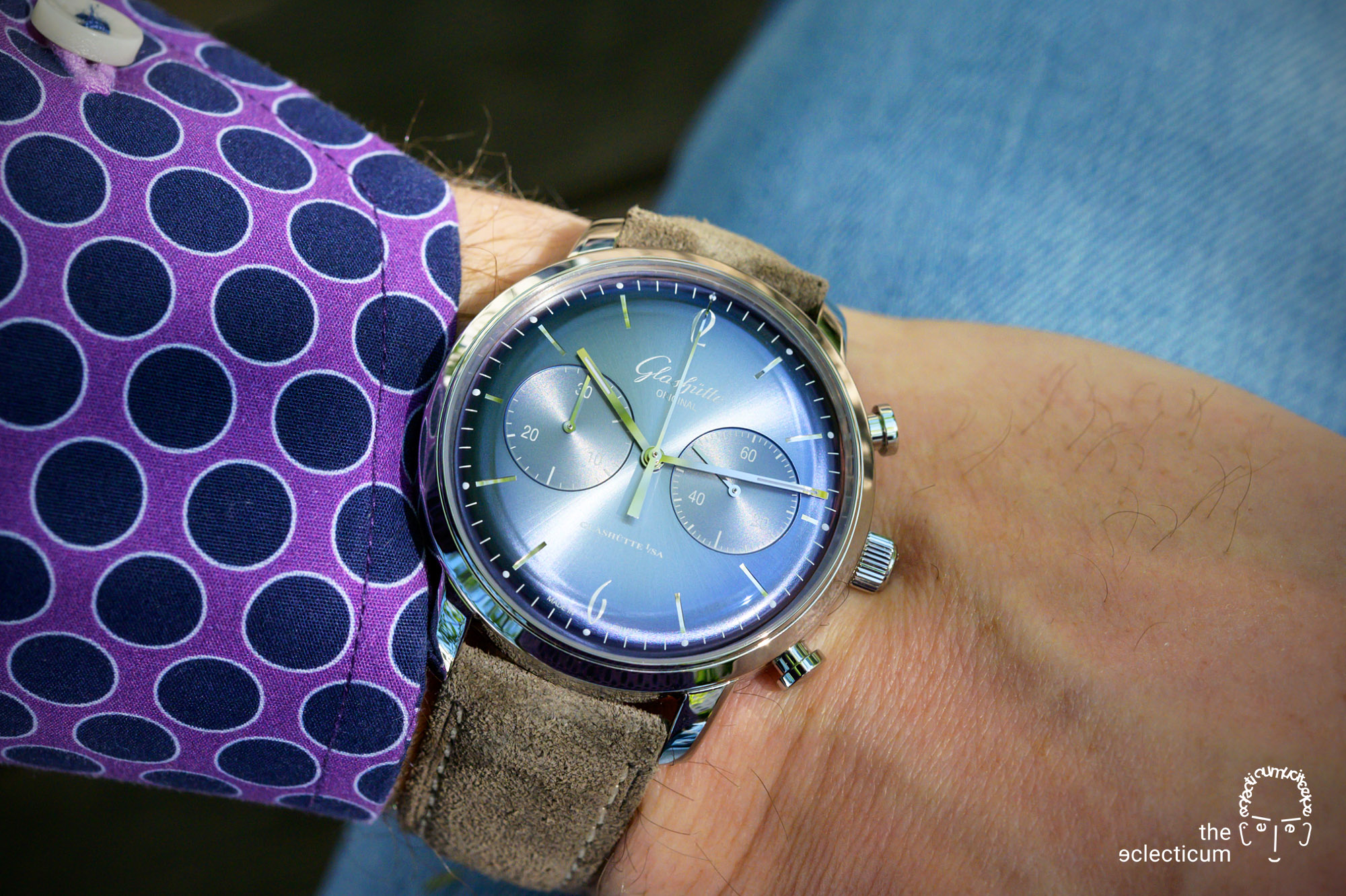 Glashütte Original Sixties Annual Edition 2020 Glacier Blue Chronograph wristshot
