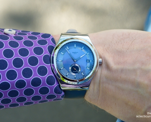 Swatch Sistem51 Petite Seconde automatic blue dial wristshot