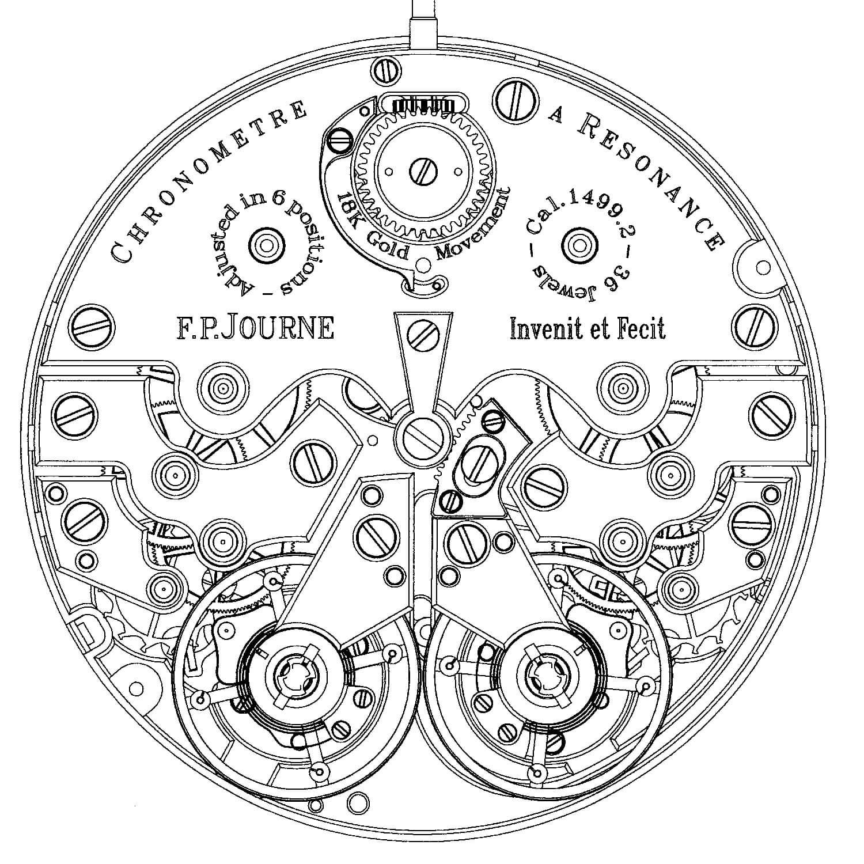 Francois-Paul Journe Chronometre a Resonance Cal. 1499.2 movement drawing