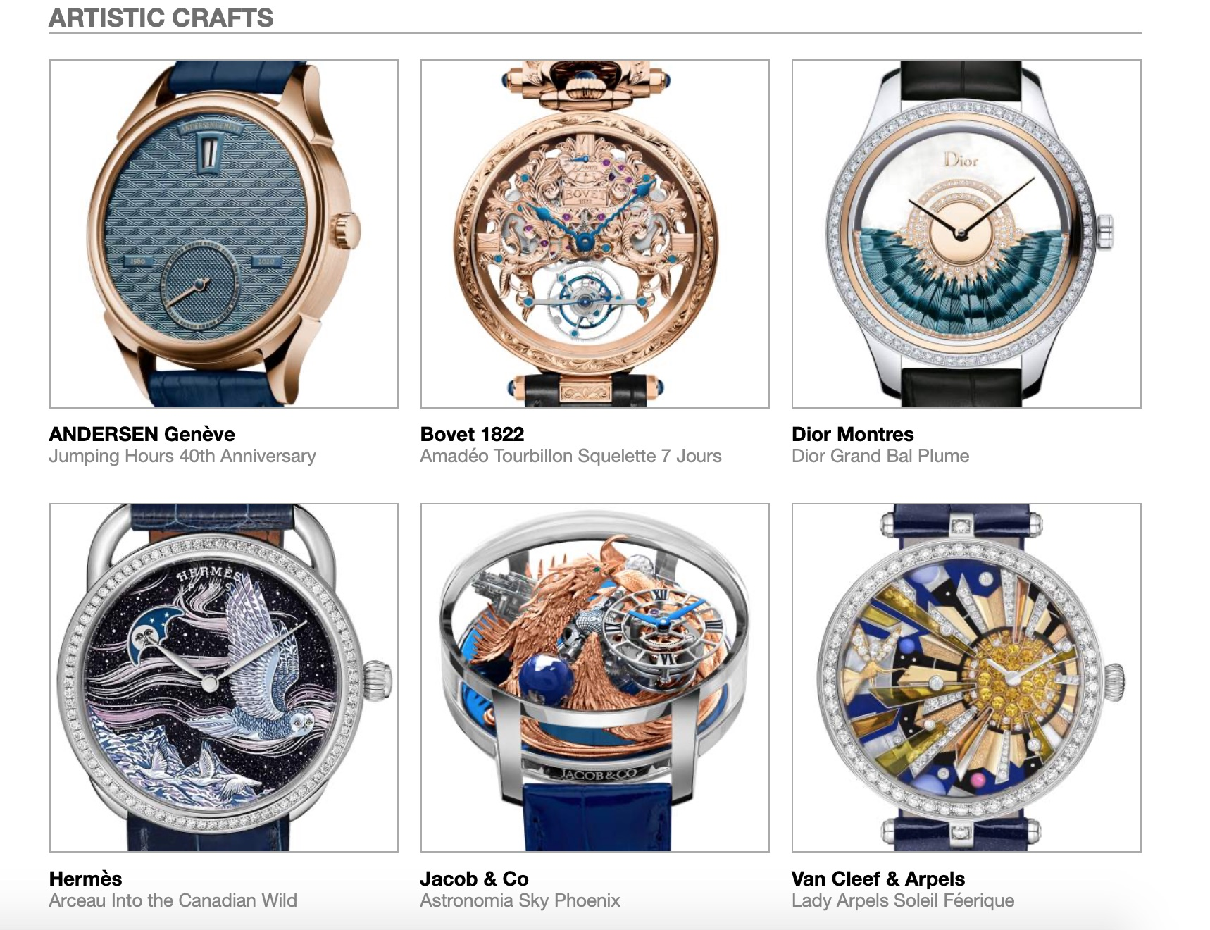 Grand Prix d'Horlogerie de Genève GPHG Academy Nominated Watches 2020 Calendar Artistic Crafts