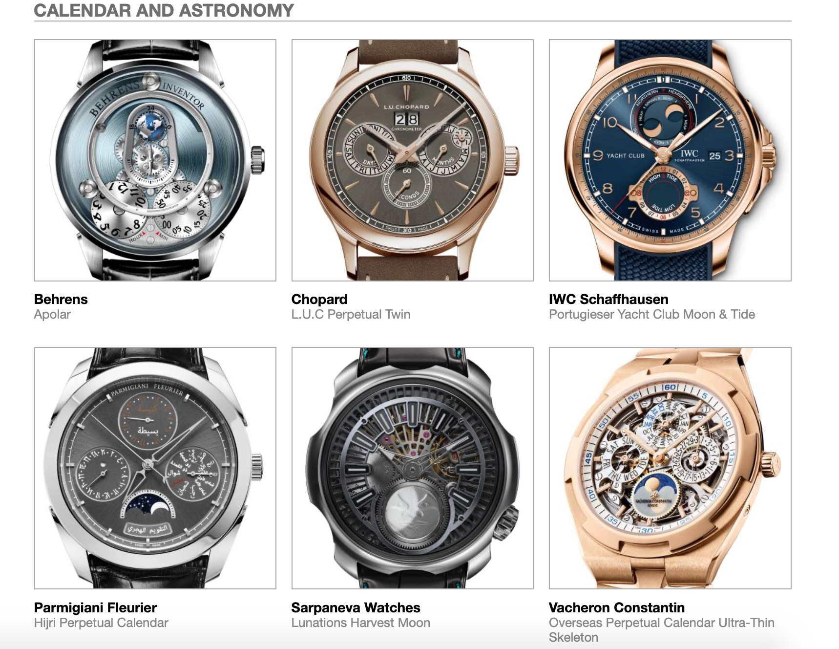 Grand Prix d'Horlogerie de Genève GPHG Academy Nominated Watches 2020 Calendar Astronomy