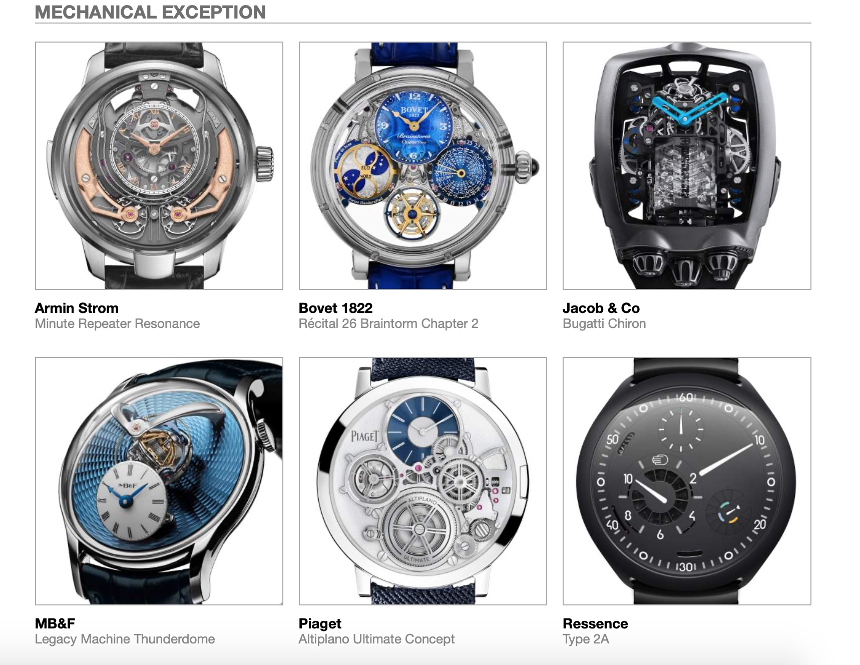 Grand Prix d'Horlogerie de Genève GPHG Academy Nominated Watches 2020 Mechanical Exception