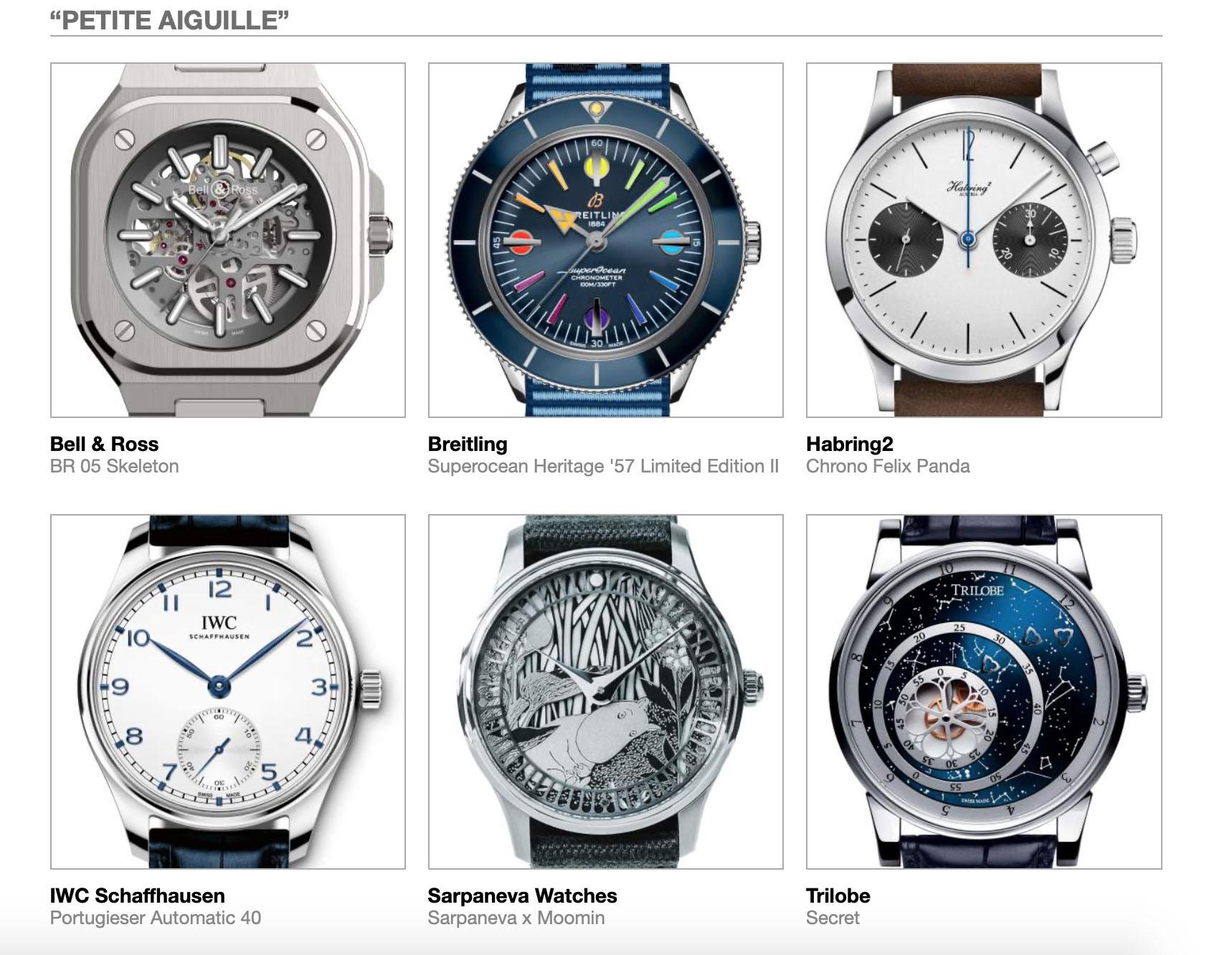 Grand Prix d'Horlogerie de Genève GPHG Academy Nominated Watches 2020 Petite Aiguille