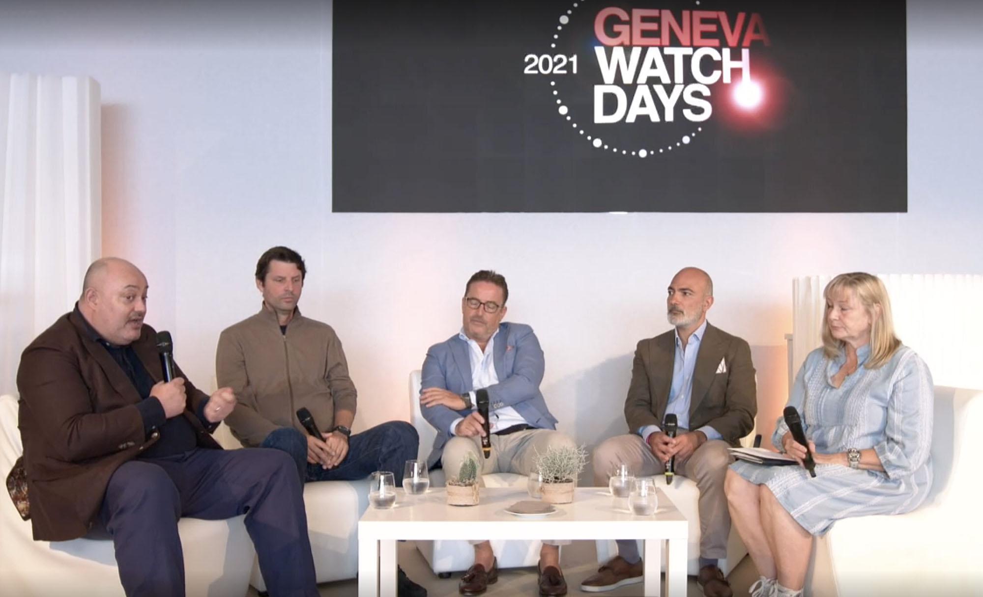 Geneva Watch Days GWD 2021 Independent Watchmaking Panel William Massena (Massena Lab), Felix Baumgartner (Urwerk), Pierre Jacques (De Bethune), Alex Ghotbi (Phillips Auctions), Elizabeth Dörr (Quill & Pad)