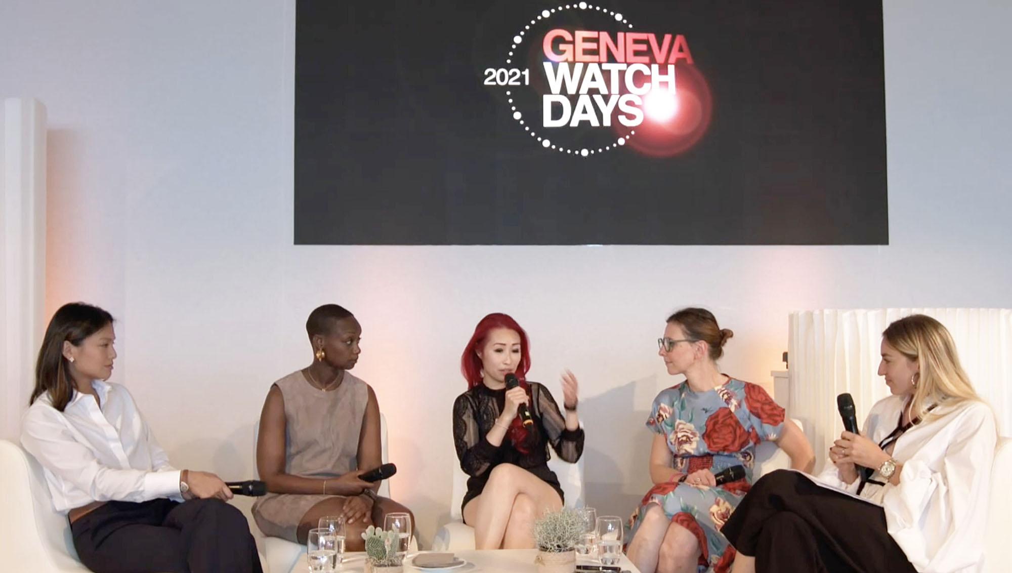 Geneva Watch Days GWD 2021 What Women Want Panel Tiffany To (Phillips), Yacine Sar (Urwerk), Suzanne Wong (Worldtempus, WatchFemme), Catherine Eberlé-Devaux (BVLGARI), Clara Kessi (Phillips)