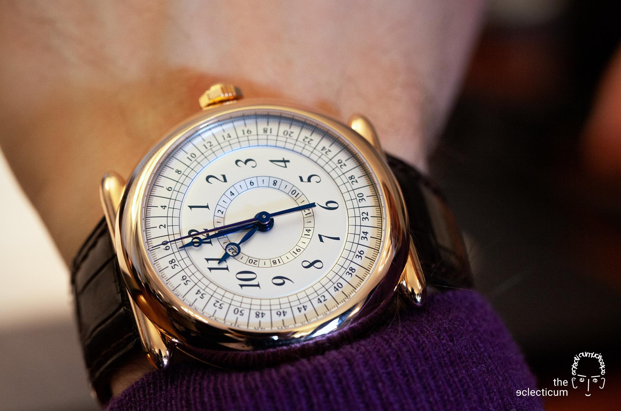 De Bethune DB29 MaxiChrono Tourbillon chronograph central stack manufacture wristshot