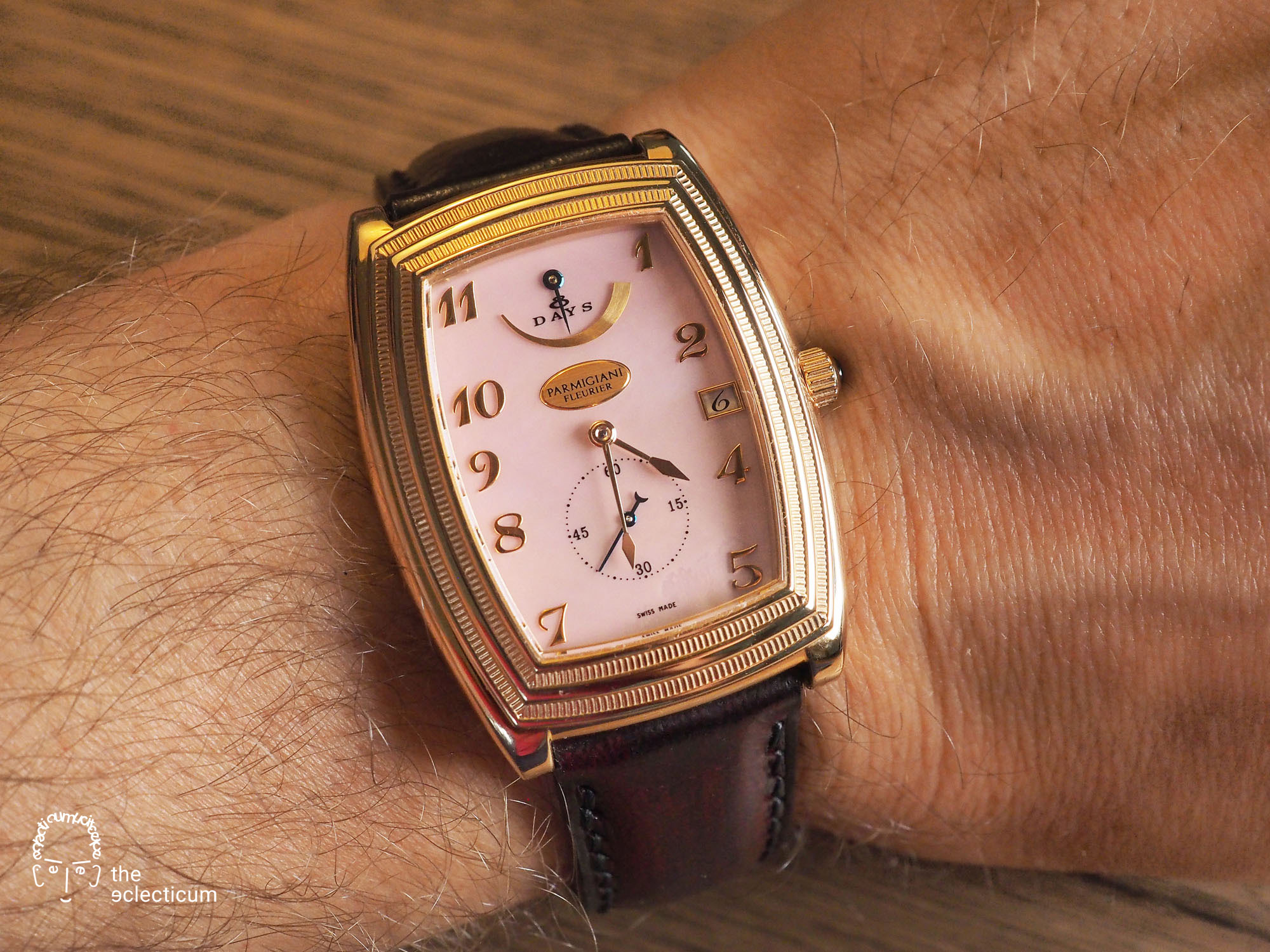 Parmigiani Ionica Hebdomadaire red gold mother-of-pearl wristshot