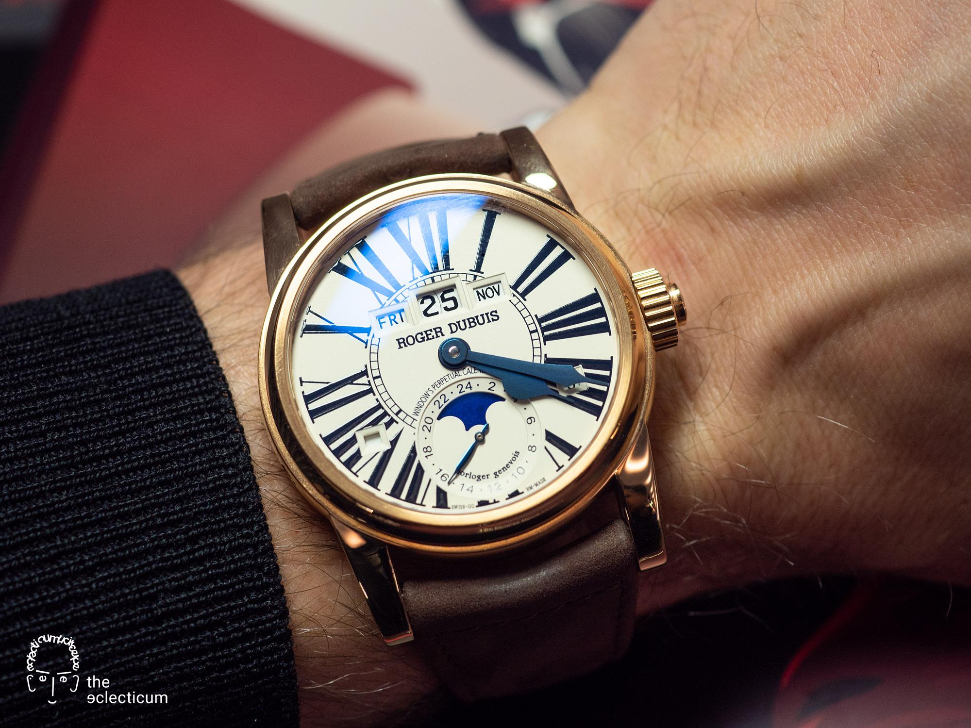 Roger Dubuis Hommage Perpetual Calendar Dual Time Poinçon de Geneve Geneva Seal wristshot