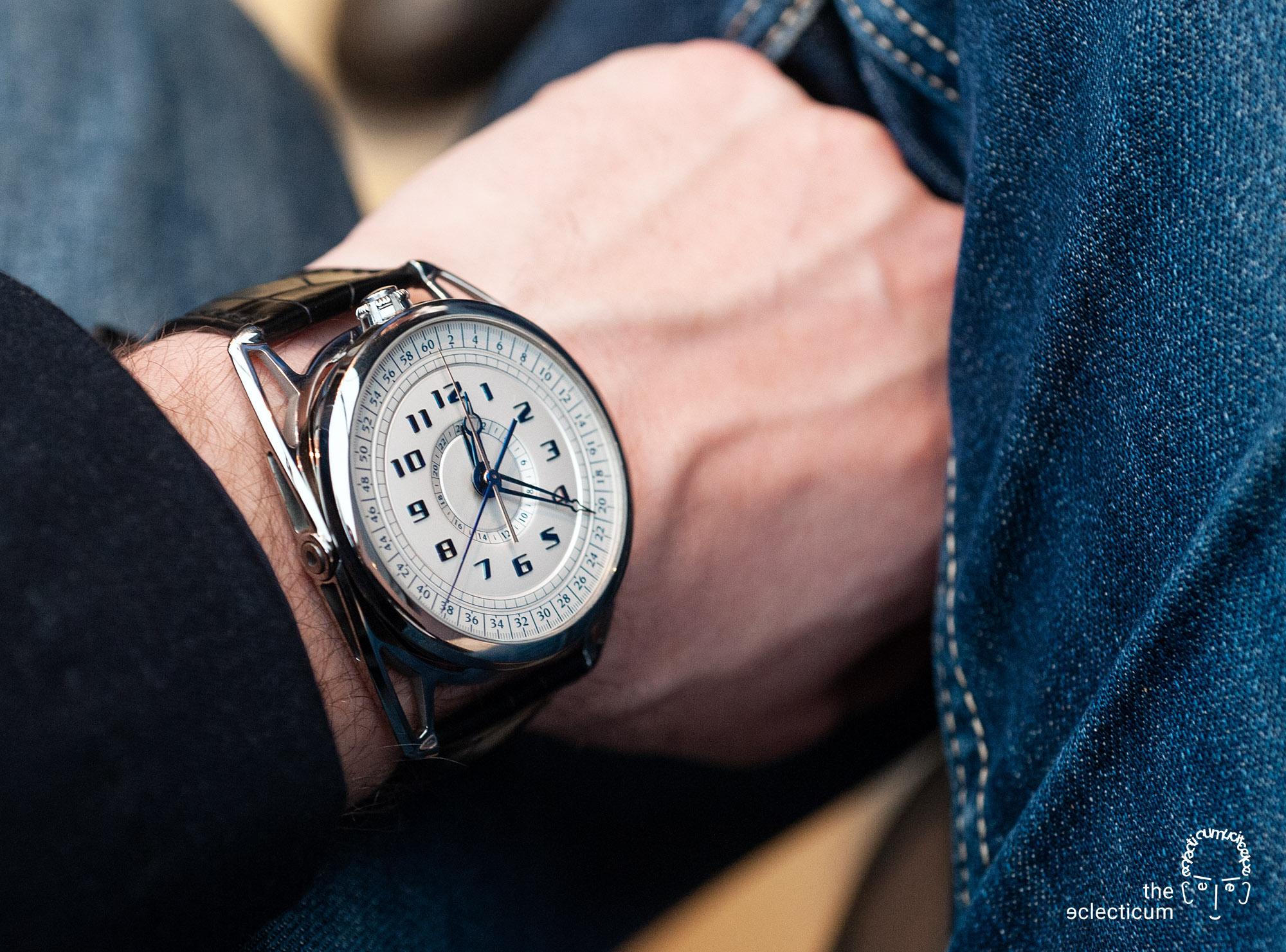 De Bethune DB28 MaxiChrono chronograph central stack manufacture wristshot