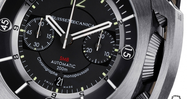 Suissemecanica SM8 chronograph monopusher crown protector GMT