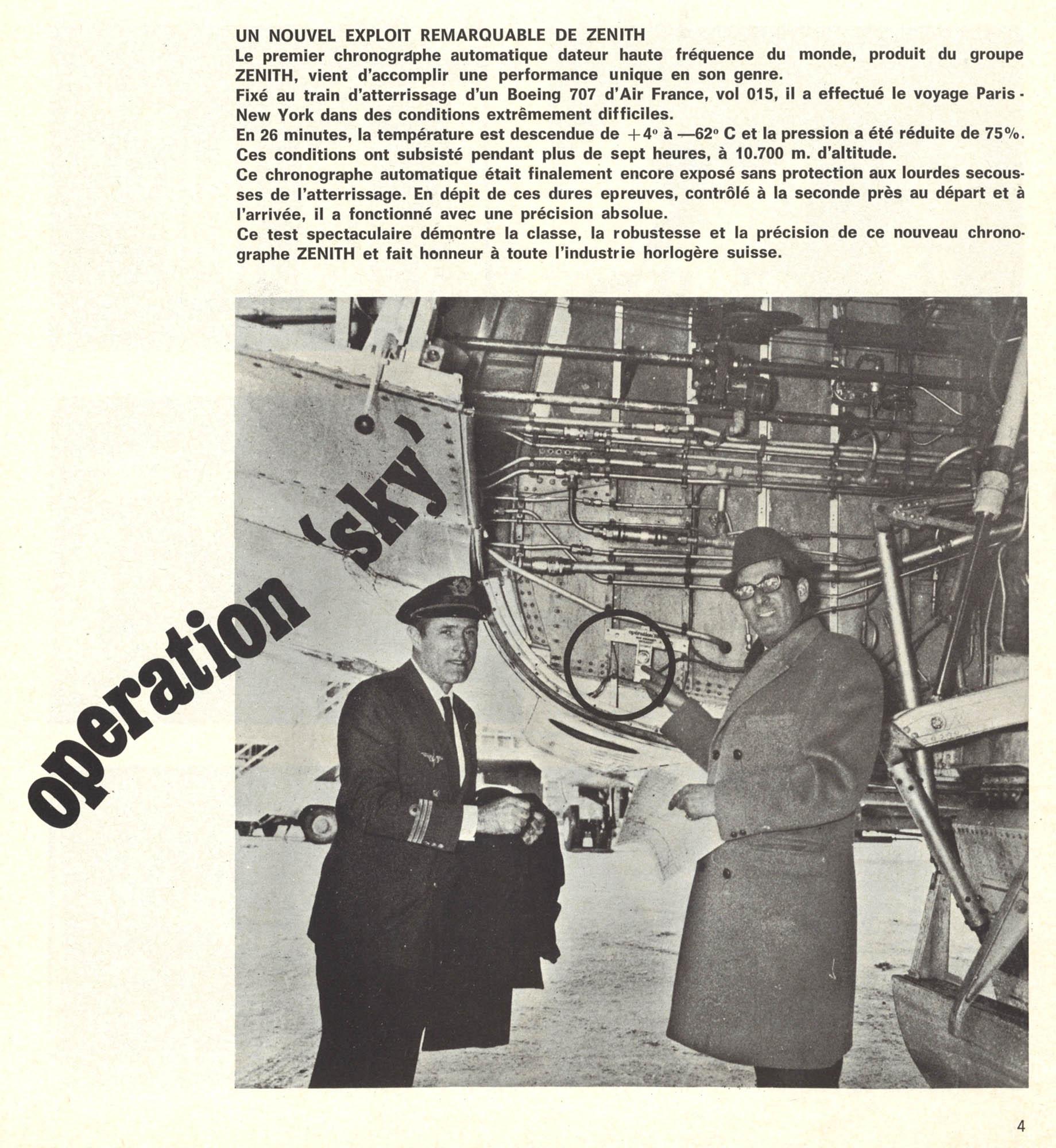 Zenith A385 original El Primero Chronograph 1970 advertisement Operation Sky landing gear Boeing 707 Air France