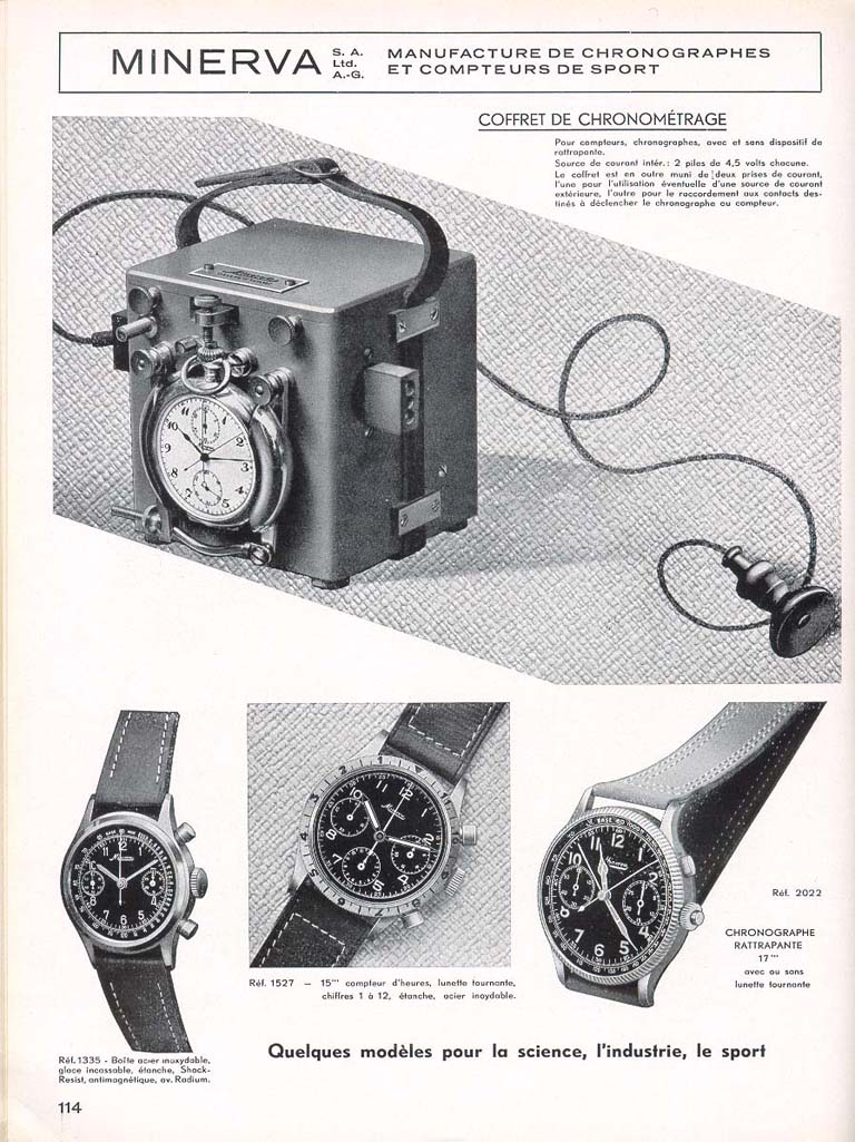 minerva vintage advertisement chronograph